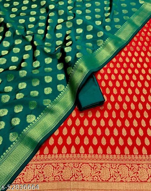 (R14Red) TrenDy Fabulous Banarsi Silk Suit And Dress Material