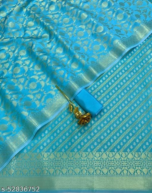 (R24Aqua Blue) Fashionable TrenDy Banarsi Jaquard Silk Suit And Dress Material