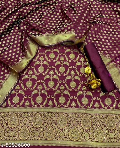 (R28Maroon) Exclusive Banarsi Jaquard Stone Work Silk Suit And Dress Material