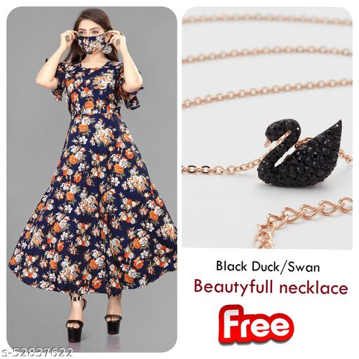 Women's / Girl's Crepe A-Line Maxi Dress