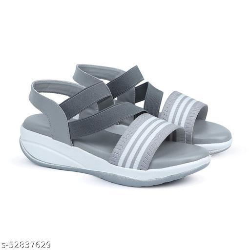 Wedges Heel Girl/Women's Striped Sandal (Color-Grey)