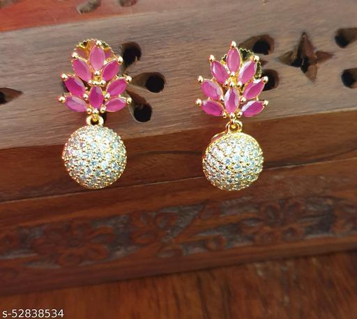 22142 RUBY Leaf Ad ball Earrings