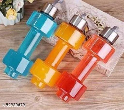 E VARNI RAJ Unbreakable Plastic dumbbell Shape Water Bottle 400 ml Bottle  (Pack of 1, Multicolor, Plastic)