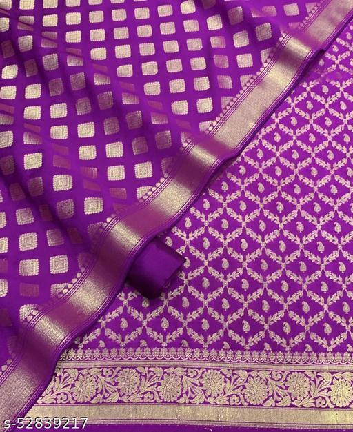 (R16Purple) Weddings Special Banarsi Silk Suit And Dress Material