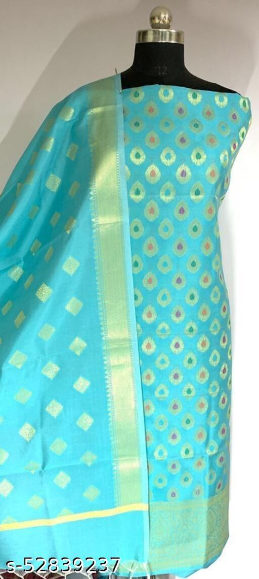 (R2Aqua Blue) Fashionable Banarsi Multi Mina Silk Suit And Dress Material