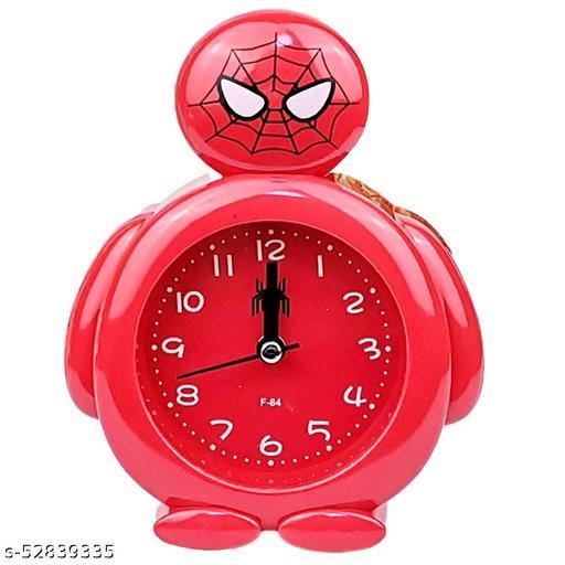 Shravya Plastic Spiderman Theme Alarm Clock (Red)  Plastic Spiderman Theme Alarm Clock Red alarm clock analog for kids boys girl clock alarm clock high sound alarm clock heavy sleepers alarm clock loud