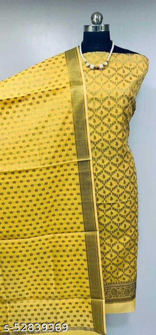 (R5Yellow) Fabulous TrenDy Banarsi Cotton Suit And Dress Material