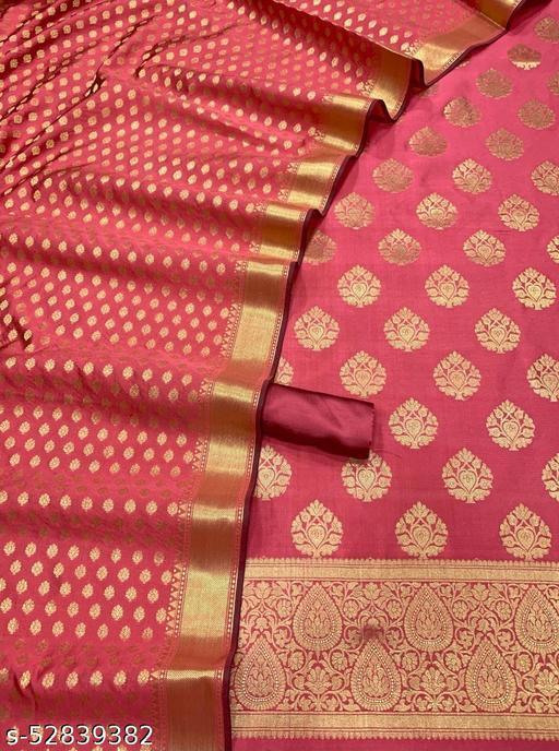 (R20Peach) Fashionable Banarsi Jaquard Silk Suit And Dress Material