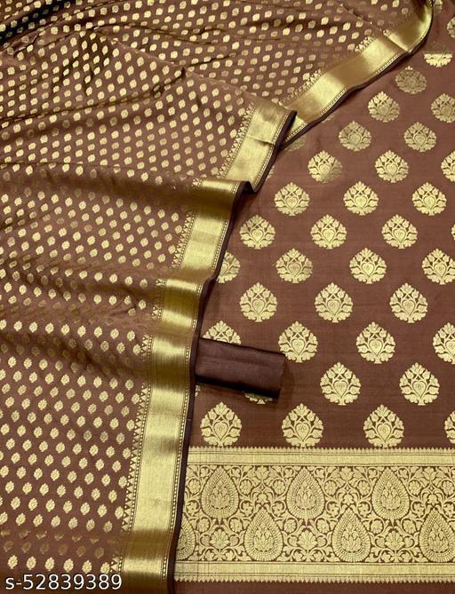 (R20Brown) Fashionable Banarsi Jaquard Silk Suit And Dress Material