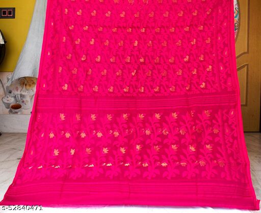 Soft Handloom Dhakai Jamdani Saree (pink)