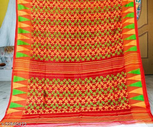 Soft Handloom Dhakai Jamdani Saree (Red)