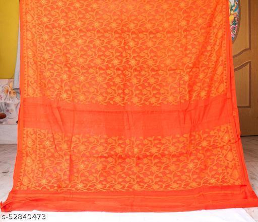 Soft Handloom Dhakai Jamdani Saree (orange)