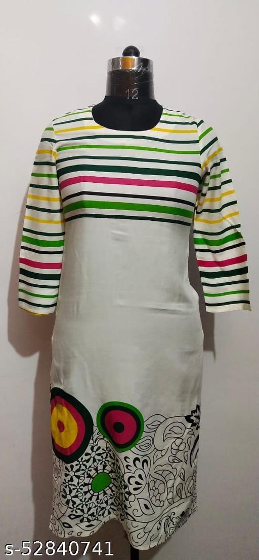 Women's Wear Straight Cotton Slub Rayon Kurti
