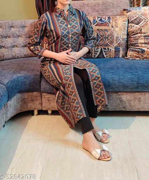 MOHPAASH Womens Designer Straight Casual Kurti with Collar Neck and  Attractive Button detailing
