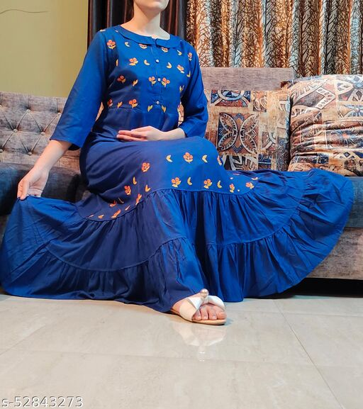 MOHPAASH Womens Designer Royal Blue A-line Frill  Two Layered Maxi with Floral Embroidery kurti