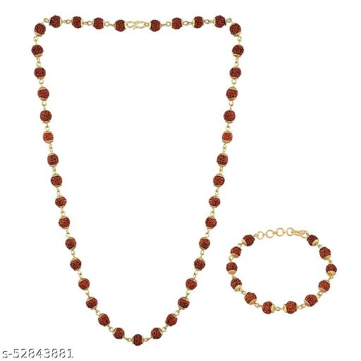 SONI JEWELLERY  5 Faced Rudraksha Golden Caps Mala & Bracelet