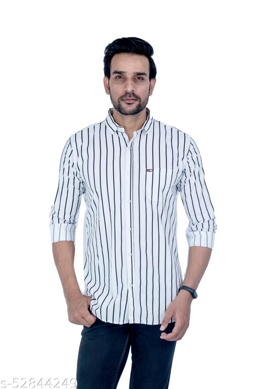 BROAD STRIPED COTTON CASUAL SHIRT