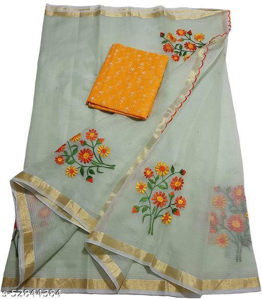 Azeeme Kota doria embroidery saree