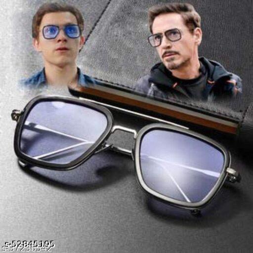Men's and Women's Tony Stark Iron Man Mirror Black Metal Square Sunglasses