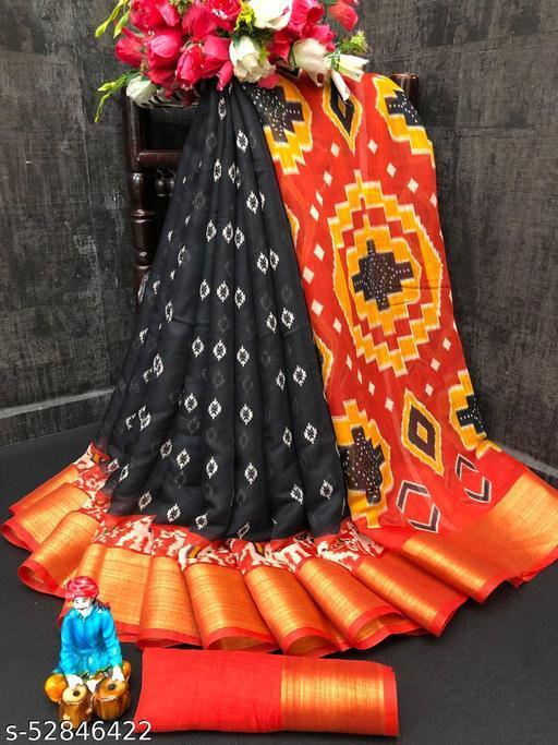 Dhra Creation Present Soft Linen Cotton Slub Saree With Blouse.