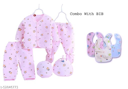 Advikavya BABY PRODUCTS New Born Baby Winter Wear Keep Warm Cartoon Printing Baby Clothes Feather Baby Boys Girls Unisex Baby Fleece/Falalen Suit Infant Clothes 5 Pcs Sets for (0-3 Months) Print may be Very and 3 Bib Combo
