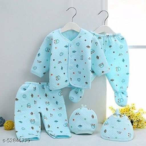 Advikavya BABY PRODUCTS New Born Baby Winter Wear Keep Warm Cartoon Printing Baby Clothes Cotton Baby Boys Girls Unisex Baby Fleece/Falalen Suit Infant Clothes 5 Pcs Sets for (0-3 Months) Print may be Very