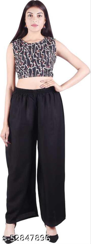 Regular Fit Women Black Rayon Trousers