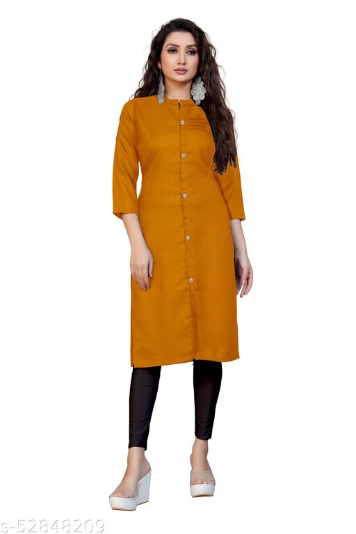 Women.slub cotton kurti (mustard)