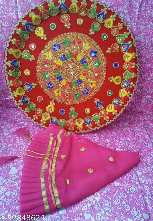 Big Pink Stone Jaimaal THAAL with GAUD Thaali Cover & Sagun Naariyal
