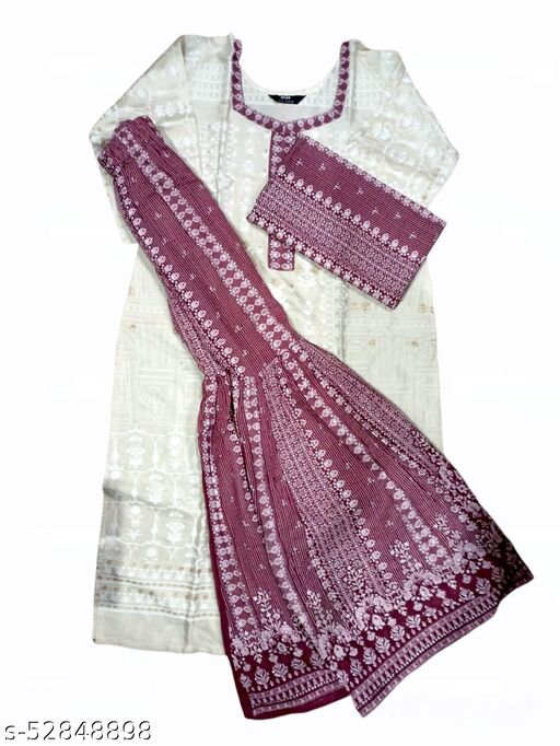 W Print Sharara Suit With Dupatta. Size 38