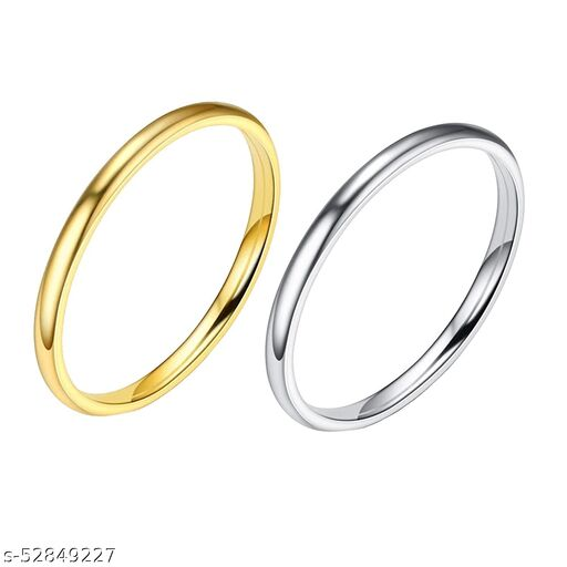 Golden & Silver 2mm US6 Ring: Pack of 2