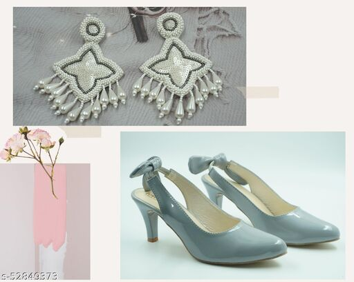 Stunning Grey heels with cute little bow at the back for the grip paired with pretty white pearls drop earrings