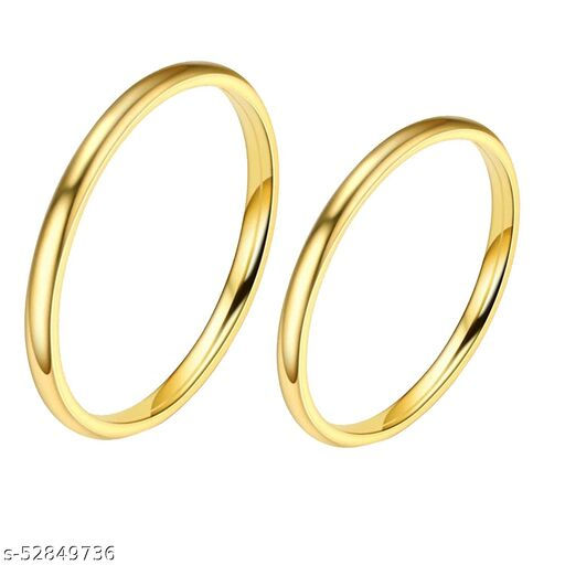 Golden 2mm Ring US7 & US9: Pack of 2