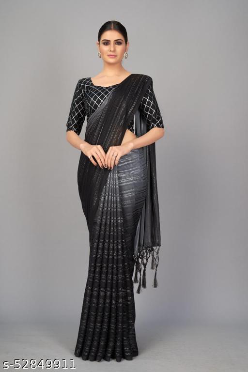Devansh clothing Women's Zarna Silk Sarees (Black)