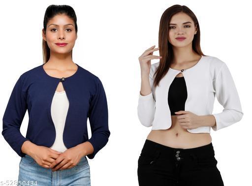 Women Solid Button crop shrug- Combo
