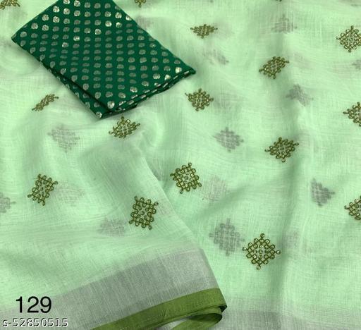 linen saree with contast pattu border