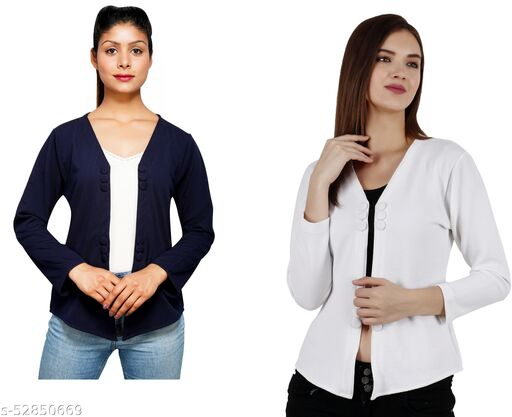 Women COMBO Solid 3 Button Shrug