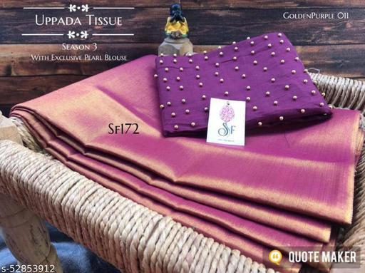 ROSE VILLA Women's Uppada Cotton Tissue Saree With Separate Blouse Piece