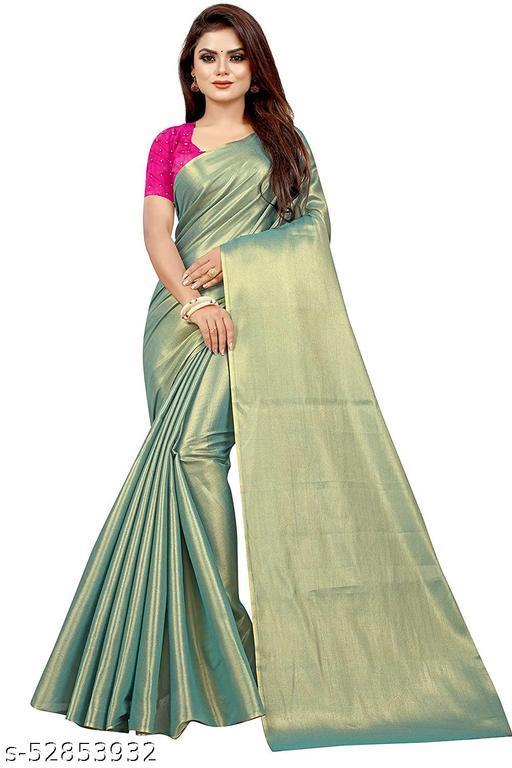 ROSE VILLA Women's Uppada New Cotton Tissue Saree With Separate Blouse Piece