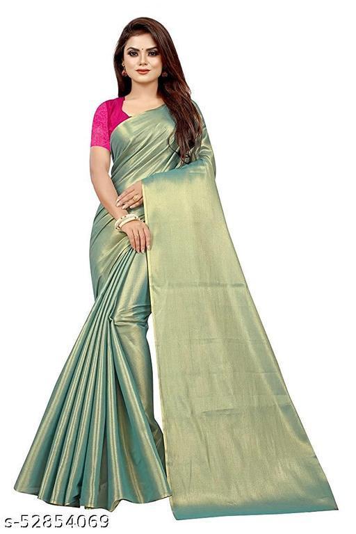 ROSE VILLA Women's Uppada Cotton Tissue Kasata Saree With Separate Blouse Piece