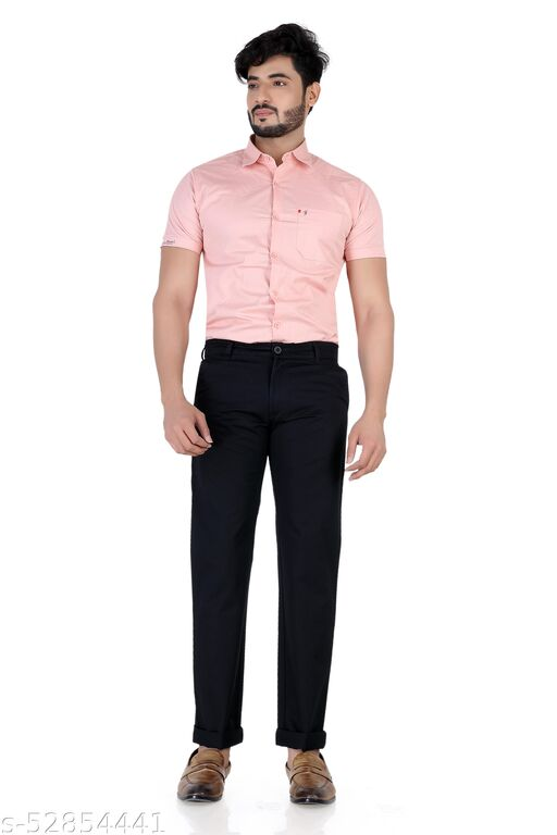 Pop Culture Men's Solid Relaxed Fit Cotton Black Chinos