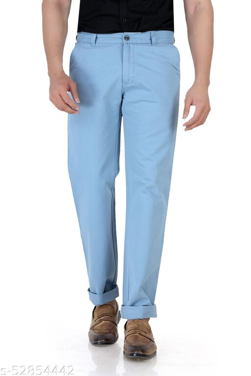 Pop Culture Men's Solid Relaxed Fit Cotton Turqoise Chinos