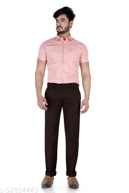 Pop Culture Men's Solid Relaxed Fit Cotton Brown Chinos