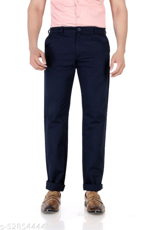 Pop Culture Men's Solid Relaxed Fit Cotton Navy Chinos