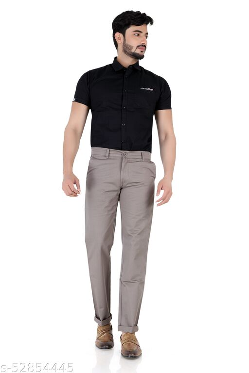 Pop Culture Men's Solid Relaxed Fit Cotton Grey Chinos