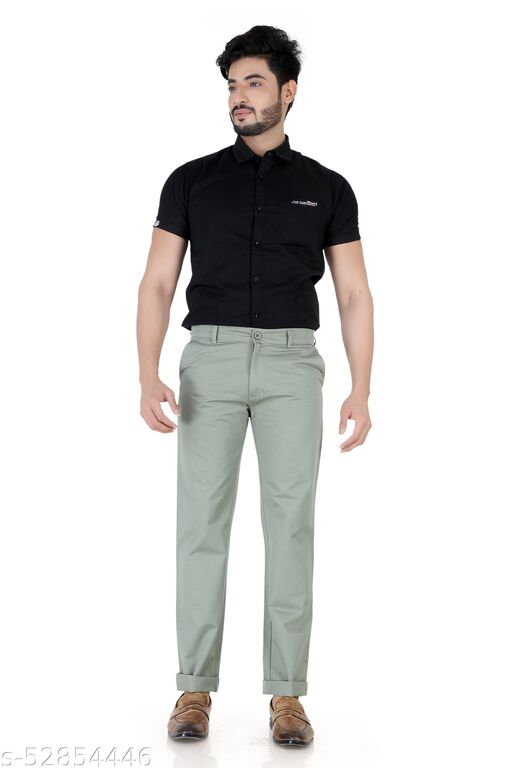 Pop Culture Men's Solid Relaxed Fit Cotton Green Chinos