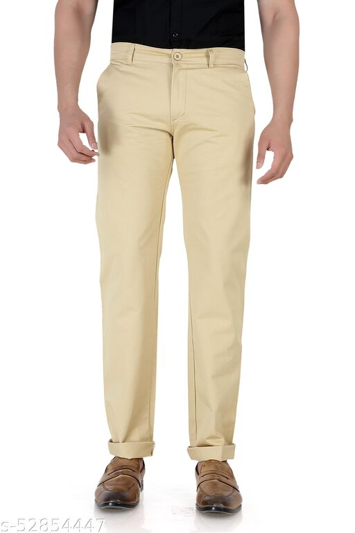 Pop Culture Men's Solid Relaxed Fit Cotton Khaki Chinos