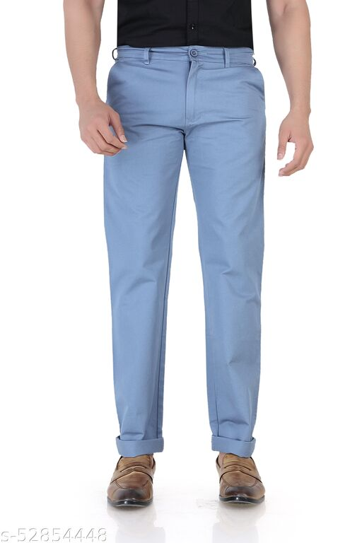 Pop Culture Men's Solid Relaxed Fit Cotton Dark Blue Chinos
