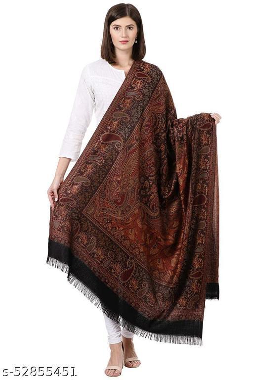 "New Stylish Women's Kashmiri Shawl, New Design, Warm and Soft, Black (SIZE: 40"" X 80"")."