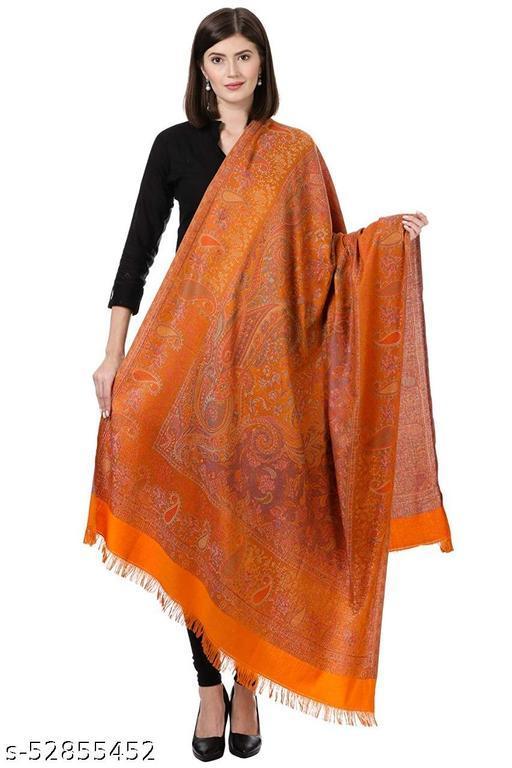 "New Stylish Women's Kashmiri Shawl, New Design, Warm and Soft Gold Shawl, Amber (SIZE: 40"" X 80"")."